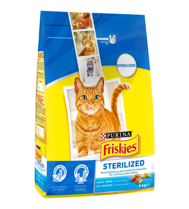 Friskies Sterilised Cats 3kg lohta ja kasviksia