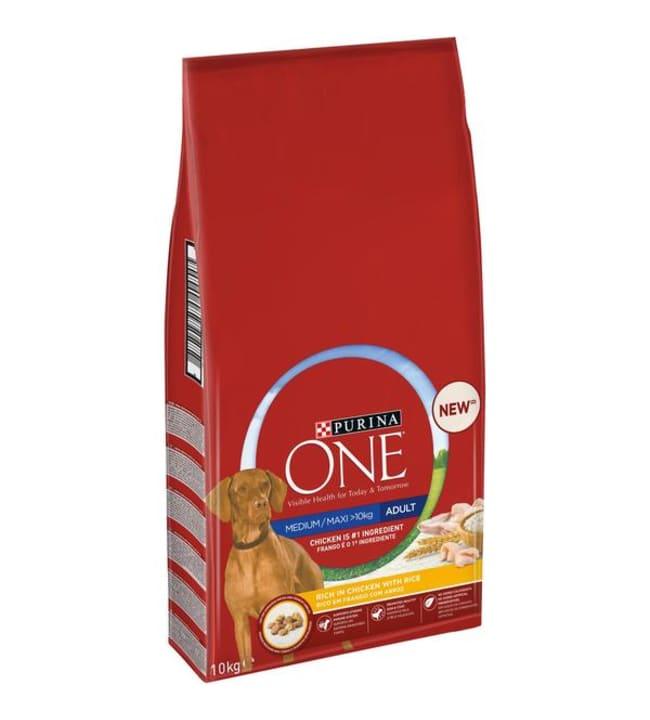 Purina ONE 10kg Medium/Maxi Adult Runsaasti kanaa koiran täysravinto