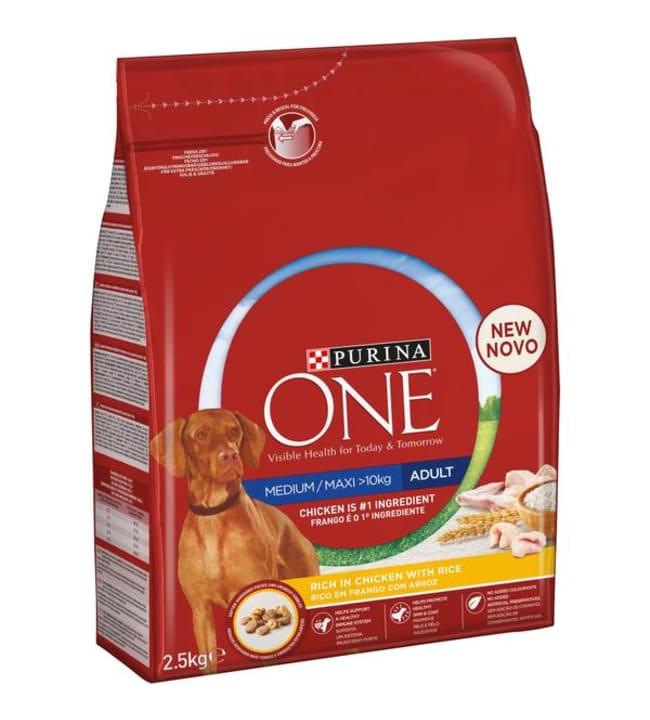 Purina ONE 2,5kg Medium/Maxi Adult Runsaasti kanaa koiran täysravinto