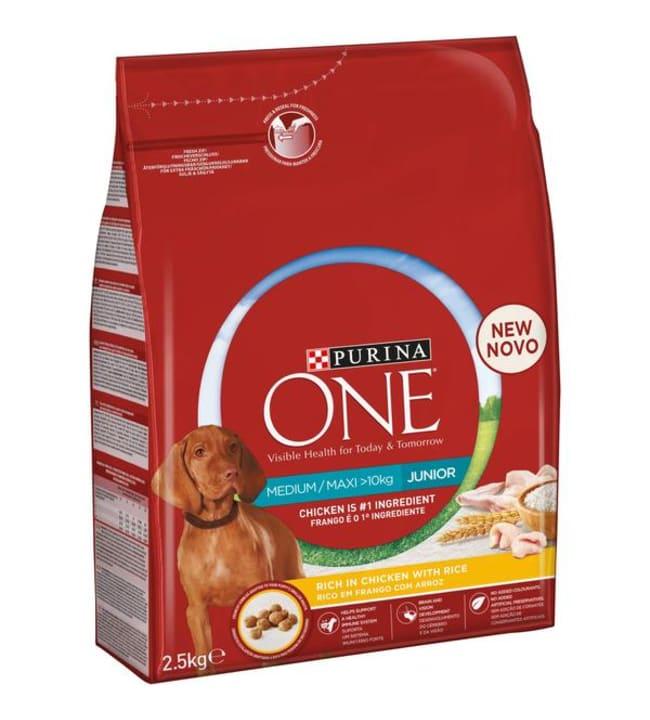 Purina ONE 2,5kg Medium/Maxi Junior Runsaasti kanaa koiran täysravinto