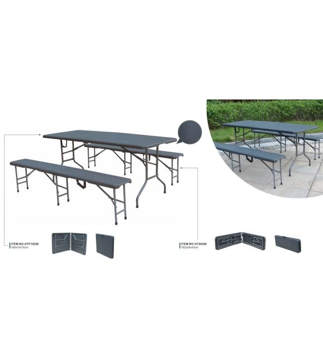Juhlapaketti, 1 kokoontaitettava pöytä PRO (182cm) + 8 tuolit, Vaalean harmaa/Valkoinen