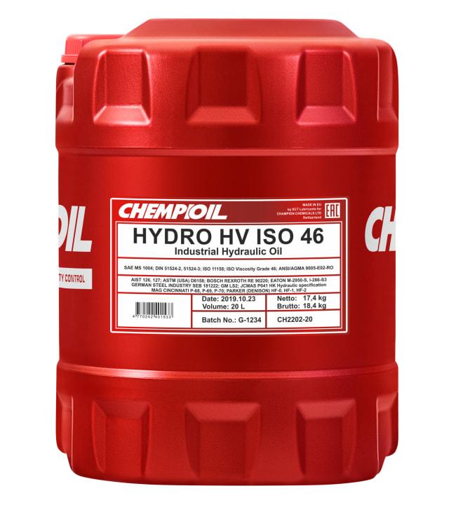 Chempioil Hydro HV ISO 46 20L hydrauliikkaöljy