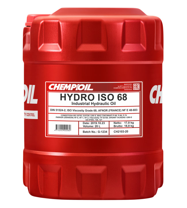 Chempioil Hydro ISO 68 20L hydrauliikkaöljy