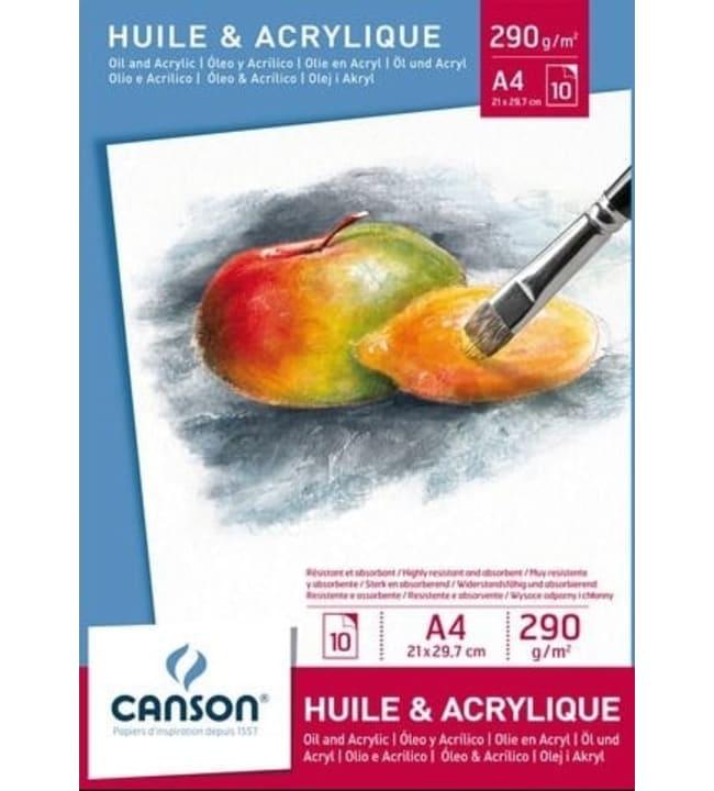 Canson Oil and Acrylic 290g/m² A4 öljy- ja akryyliväripaperilehtiö