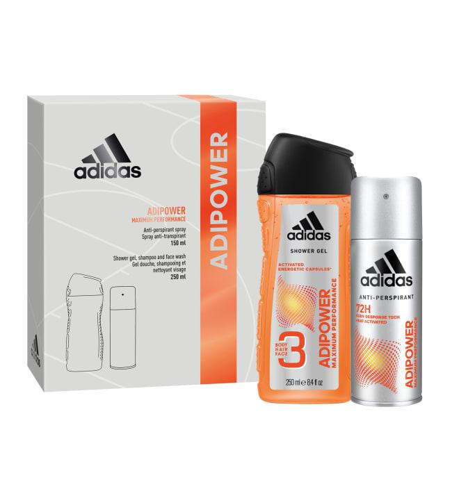 Adidas Adipower male antiperspirantti 150 ml + suihkugeeli 250 ml lahjapakkaus