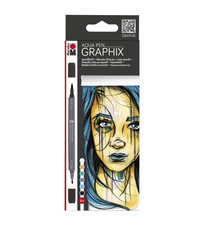 Marabu Graphix aqua pen 6 Metropolitan akvarellitussit