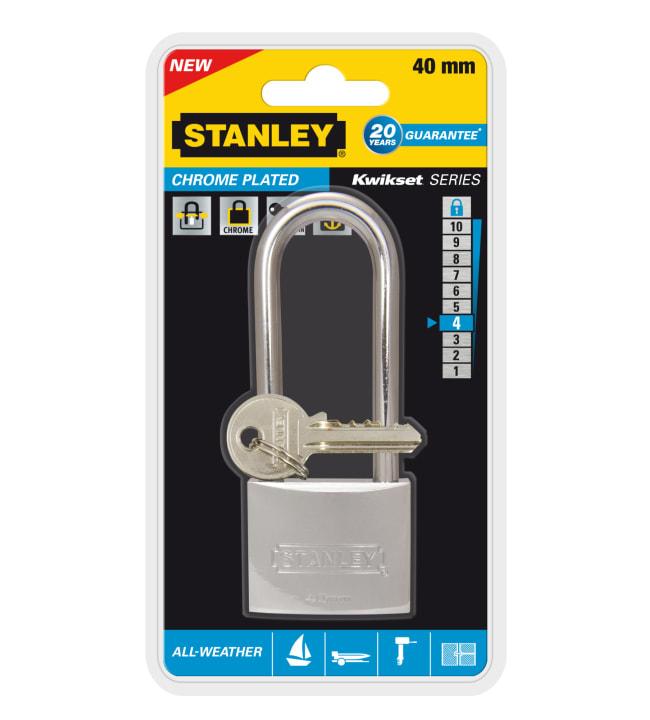 Stanley Solid Brass Chrome Plated 40 mm pitkä riippulukko