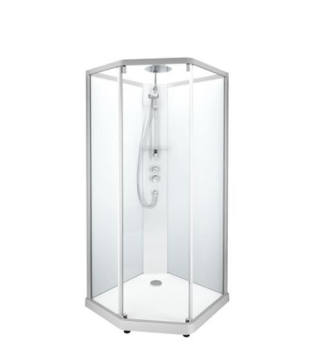 Ido Showerama 10-5, valkoiset profiilit ja takana kirkas lasi, 1,0m x 1,0m viisikulmainen suihkukaappi