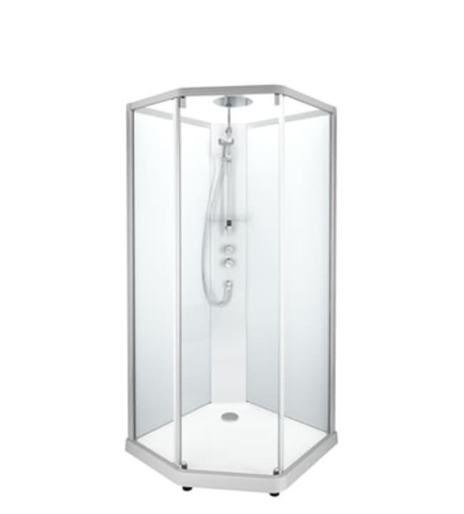 Ido Showerama 10-5, mattahopeat profiilit ja takana huurrelasi, 0,9m x 0,9m viisikulmainen suihkukaappi
