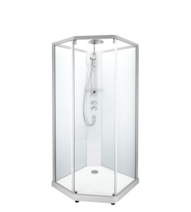 Ido Showerama 10-5, mattahopeat profiilit ja takana huurrelasi, 1,0m x 1,0m viisikulmainen suihkukaappi