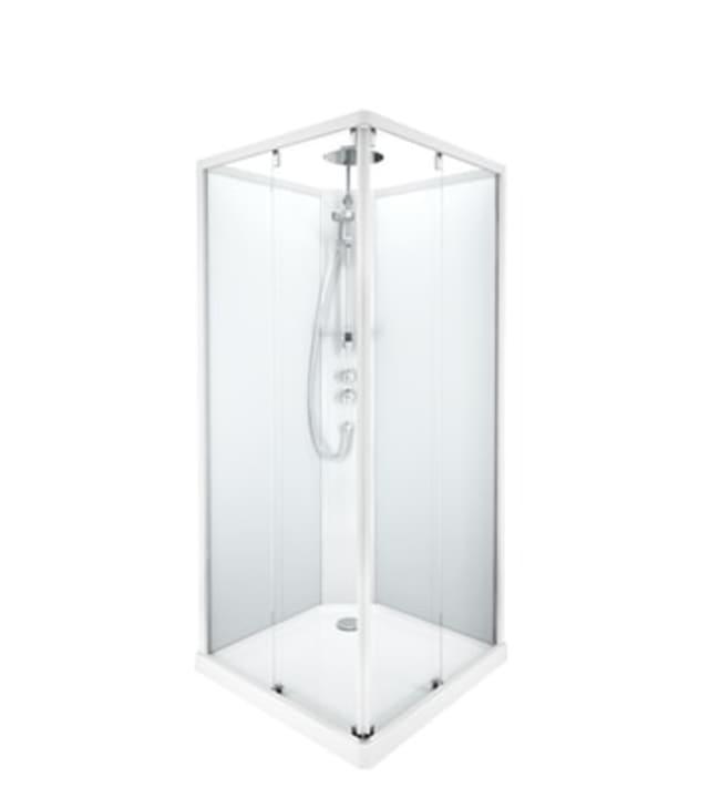 Ido Showerama 10-5, valkoiset profiilit ja takana huurrelasi,0,9m x 0,9m nelikulmainen suihkukaappi