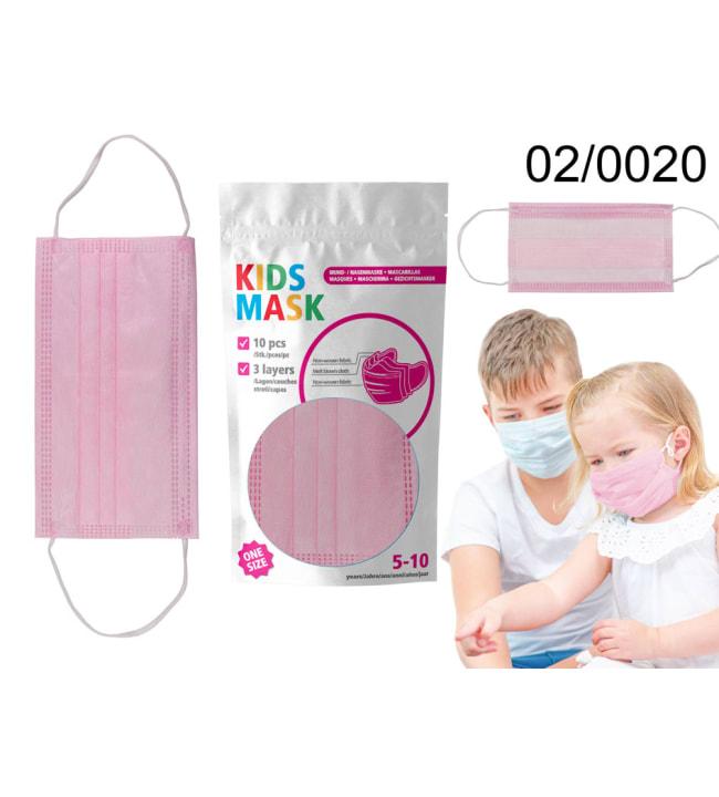 Ootb 10kpl 3-kerros lasten pinkki kasvomaski