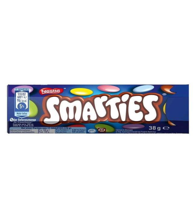 Nestlé Smarties Hexatube 38 g sokerikuorrutettuja maitosuklaarakeita