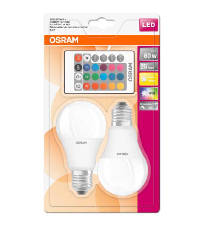 Osram E27 806lm 2kpl RGB led vakiolamppu + kaukosäädin