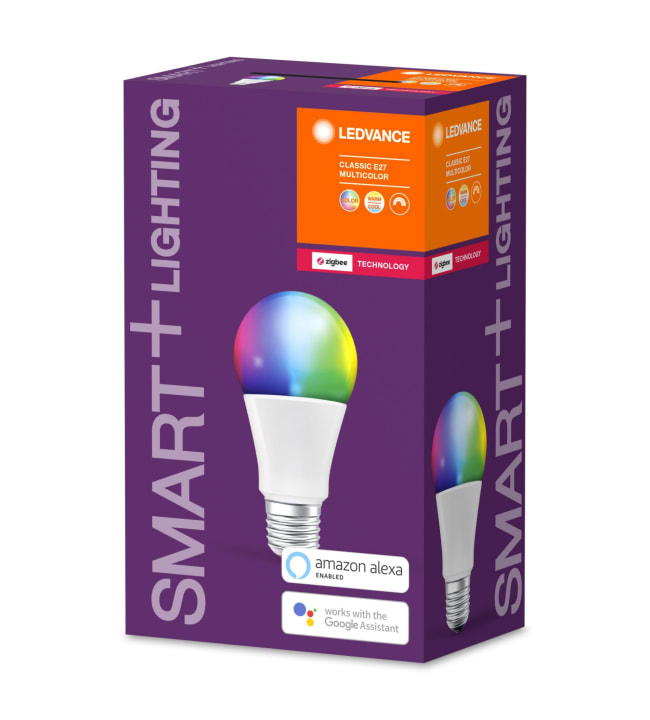 Ledvance Smart+ Classic E27 Multicolor RGBW led-älylamppu, Zigbee yhteensopiva
