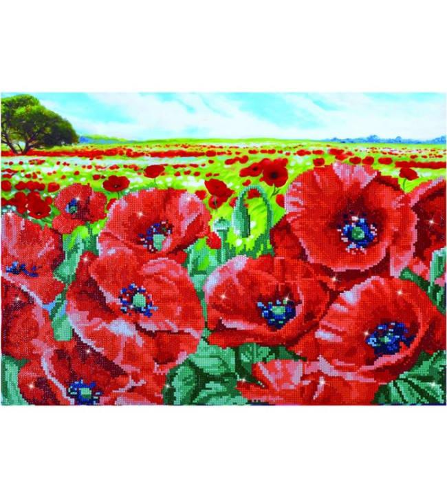Diamond Dotz Red poppy field timanttiaskartelutyö