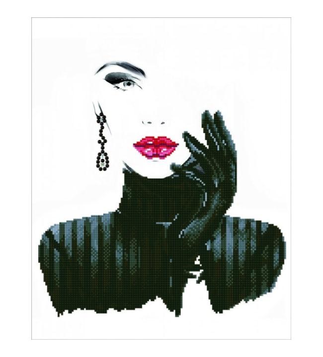 Diamond Dotz Lady in black timanttiaskartelutyö