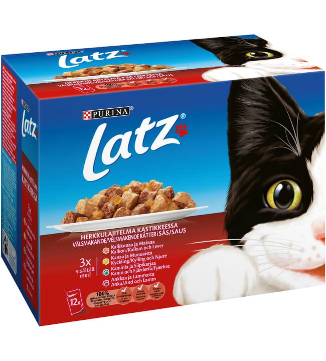 Latz 12 x 100 g lihalajitelma kastikkeessa kissanruoka annospussilt