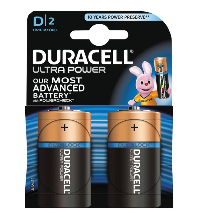 Duracell Ultra Power D 2kpl alkaliparisto