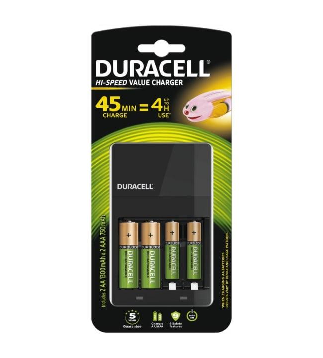 Duracell Hi-Speed Value Charger AA/AAA pikalaturi + 4 akkuparistoa