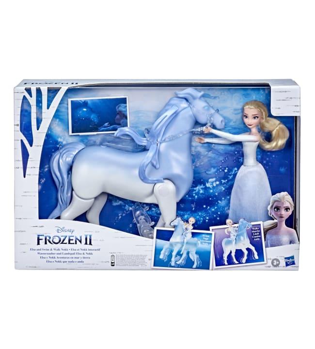 Frozen 2 Swim Walk Animal and Elsa uiva ja kävelevä hevonen ja Elsa-nukke