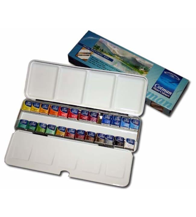 W&N Cotman Metal sketchers box 24 x 1/2 nappia akvarellilajitelma