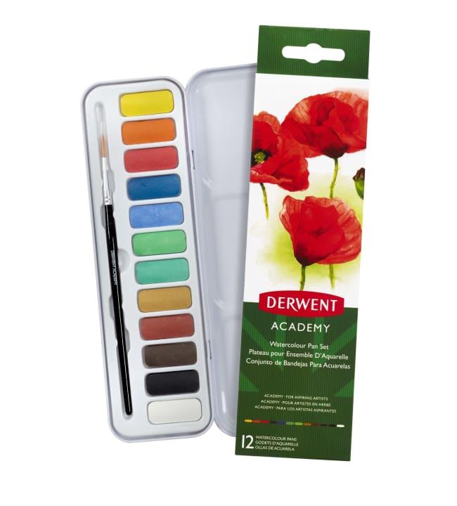 Derwent Academy Watercolour 12 nappia + sivellin