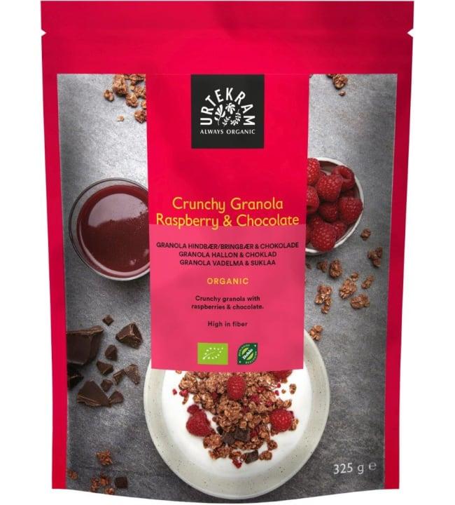 Urtekram Grunchy Vadelma-suklaa 325 g luomu granola