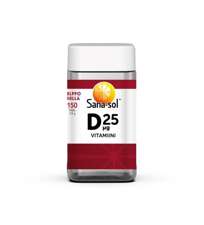 Sana-Sol D-vitamiini 25 µg  150 tabl. ravintolisä