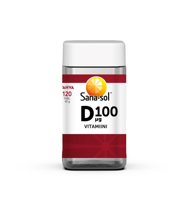 Sana-Sol Vahva D-vitamiini 100 μg 120 tabl. ravintolisä