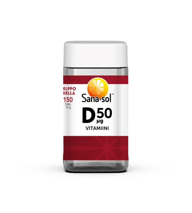 Sana-Sol D-vitamiini 50 µg 150 tabl. ravintolisä