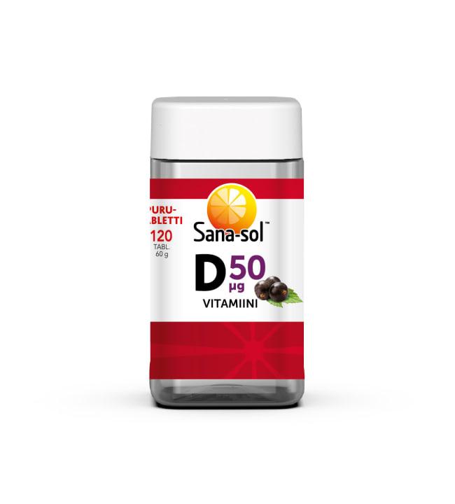 Sana-Sol D-vitamiini 50 µg Mustaherukka 120 purutabl. ravintolisä