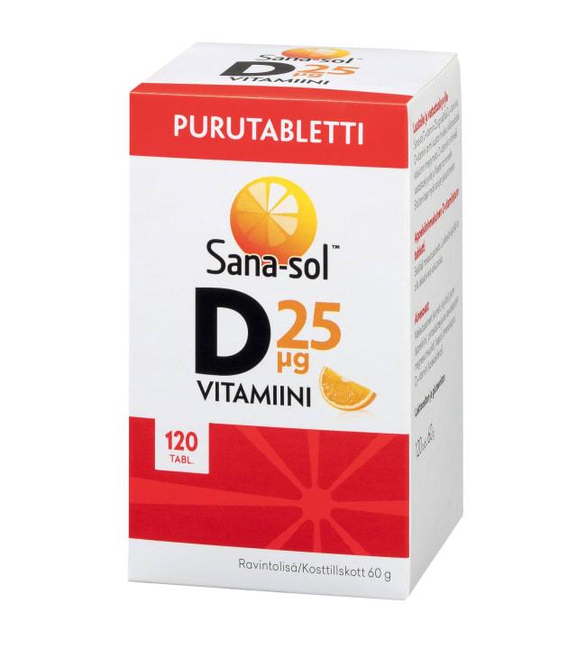 Sana-Sol D-vitamiini 25 µg Appelsiini 120 purutabl. ravintolisä