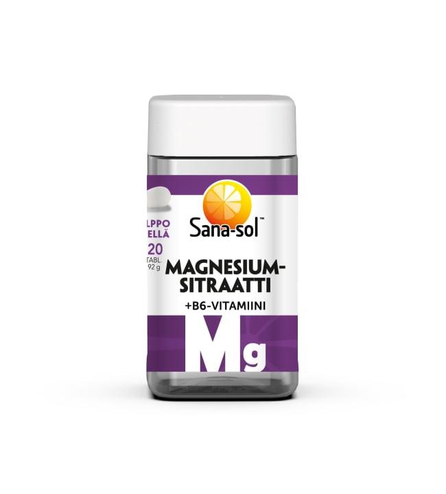 Sana-Sol Magnesiumsitraatti+B6-vitamiini 120 tabl. ravintolisä