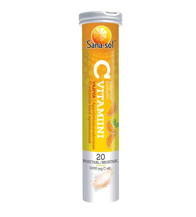 Sana-Sol C-vitamiini Appelsiini 20 poretabl. ravintolisä
