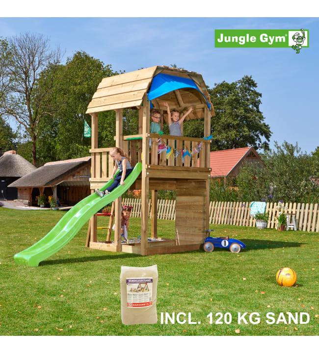 Jungle Gym Barn leikkitorni ja 120 kg hiekkaa sekä  liukumäki