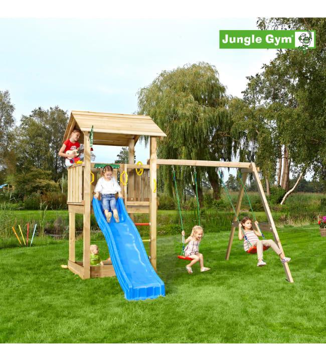 Jungle Gym Casa leikkitorni ja Swing Module Xtra sekä liukumäki
