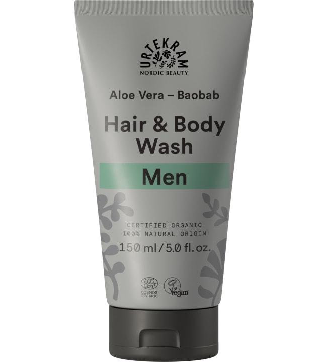 Urtekram Aloe Vera-Baobab 150 ml luomu miesten hius- ja vartaloshampoo