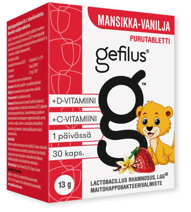 Gefilus C + D 30 kpl mansikka purutabletti