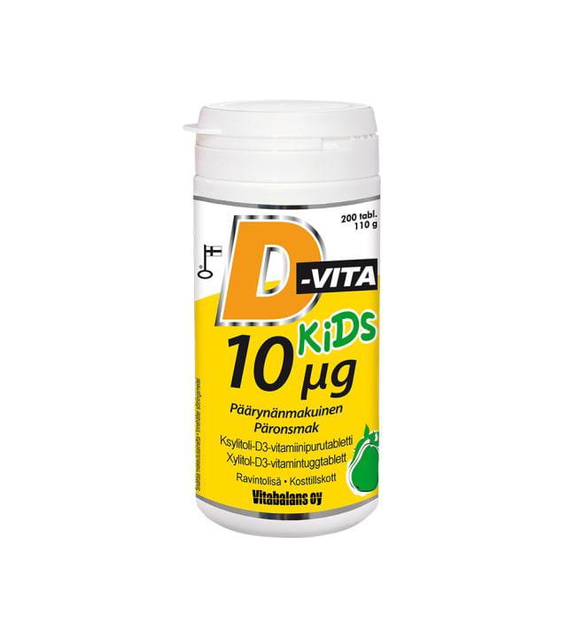 D-Vita Kids 10 µg päärynä 200 tabl. ravintolisä