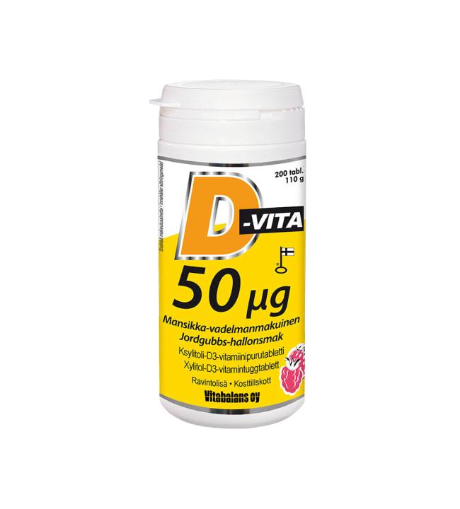 D-Vita 50 µg mansikka-vadelma 200 tabl. ravintolisä