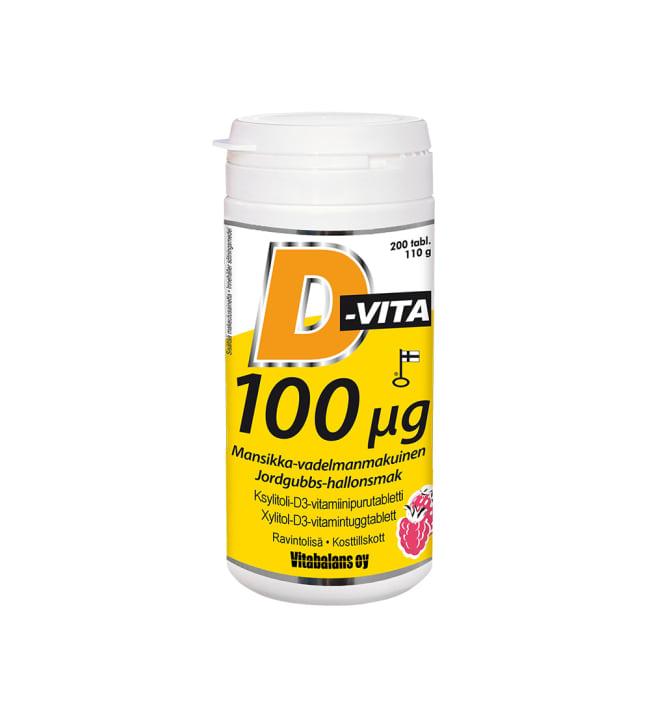 D-Vita 100 µg mansikka-vadelma 200 tabl. ravintolisä