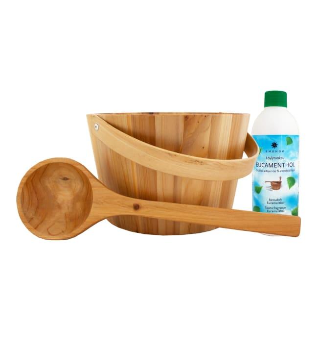 Emendo puinen saunasanko + kauha + Eucamenthol löylytuoksu 500 ml