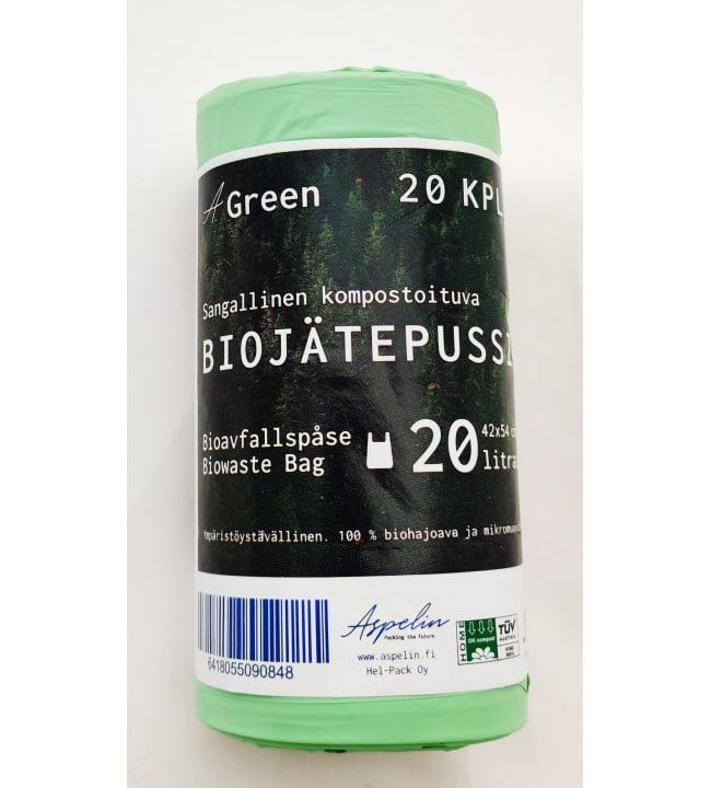 A. Green 20 l 20 kpl sangallinen kompostoituva biojätepussi