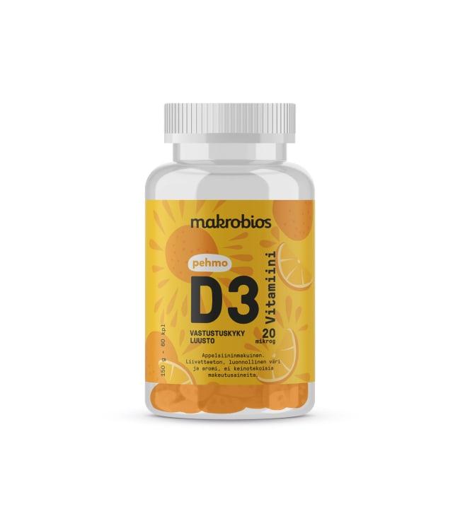Makrobios Pehmo D3-vitamiini 60 kpl ravintolisä