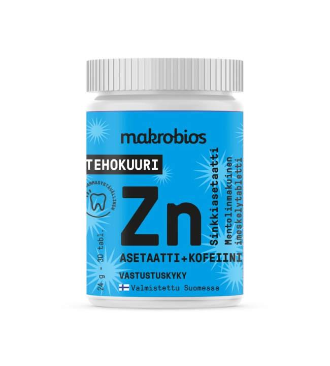 Makrobios Sinkkiasetaatti+Kofeiini 30 tabl. ravintolisä