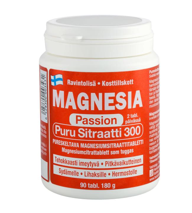 Magnesia Passion Puru Sitraatti 300 90 tabl. ravintolisä