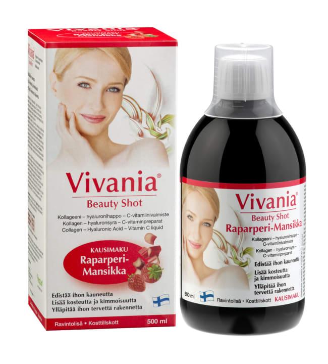 Vivania Beauty Shot raparperi-mansikka 500 ml ravintolisä