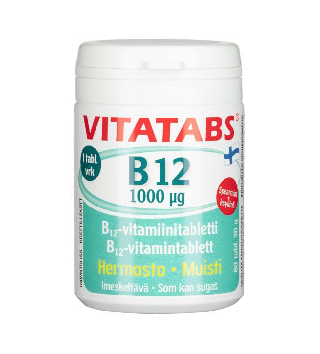 Vitatabs B12 1000µg Spearm 60 tabl ravintolisä
