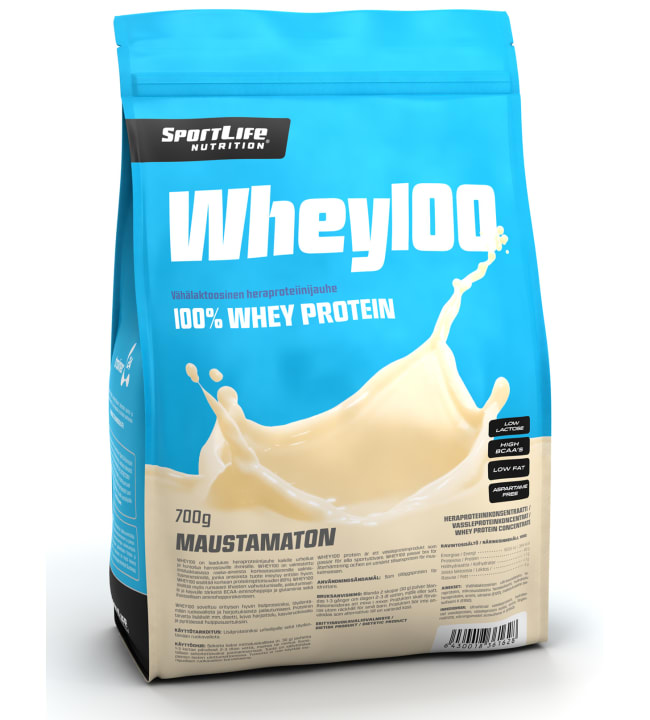 SportLife Nutrition Whey100 Maustamaton 700 g heraproteiinijauhe